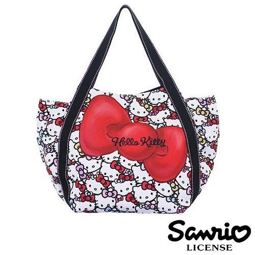 4030【日本正版】Hello Kitty X Dearisimo 帆布肩揹包 托特包 帆布包 手提袋 旅行袋 凱蒂貓 - 123305