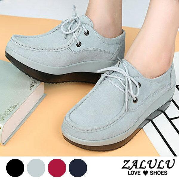 ZALULU愛鞋館7CD097預購英倫風範。大方頭厚底特色套腳休閒布鞋-灰藍黑紅-36-42