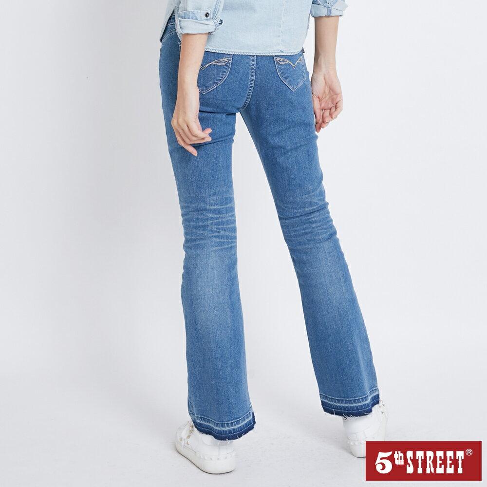 【5th STREET】女彈力修身喇叭褲-石洗藍(-3KG系列)