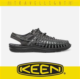 【KEEN】UNEEK LEATHER 男戶外織帶涼鞋 深灰色 1017876 健行 溯溪 海灘 戶外 露營 Travellight旅形