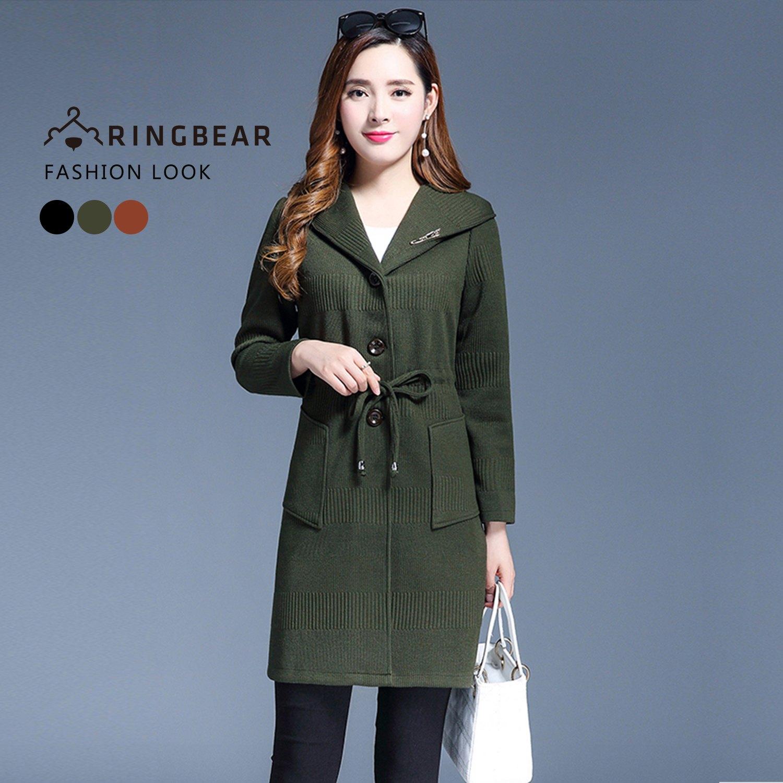 長版外套--優雅時尚連帽水鑽別針收腰抽繩貼式口袋外套(黑.咖.綠XL-3L)-J325眼圈熊中大尺碼 1