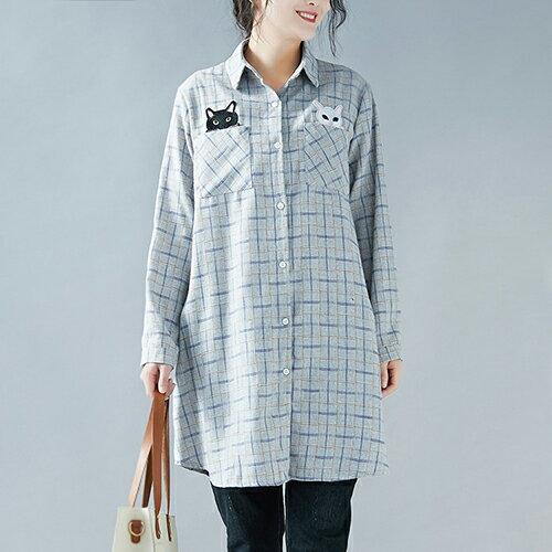 貓咪刺繡中長款襯衫格子棉襯衣(圖片色L~XL)【OREAD】 - 限時優惠好康折扣