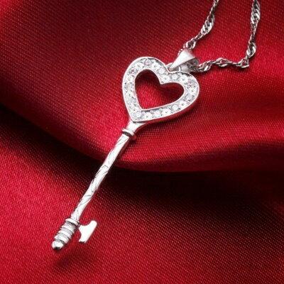 ~925純銀項鍊 鑲鑽吊墜~精緻小巧鑰匙 母親節情人節生日 女飾品73dk22~ ~~米蘭