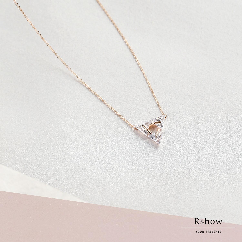 【Rshow】Triplicity 鑲鑽三角形 鎖骨鍊 0