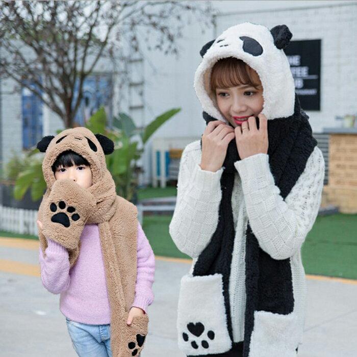 糖衣子輕鬆購【DS213】韓版毛絨加厚保暖親子款可愛熊貓圍脖圍巾手套帽子三件一體