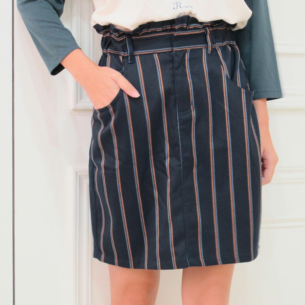 荷葉邊直條紋窄裙 ~2colors ~  好康折扣
