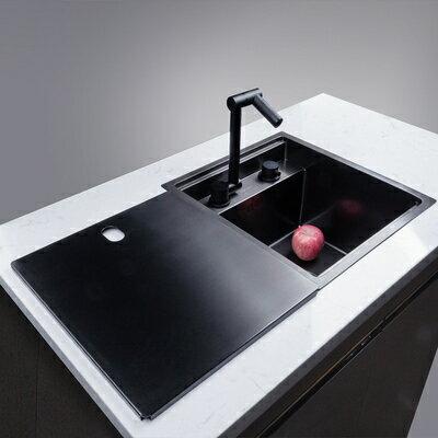 廚房水槽 隱藏吧臺水槽廚房隱形手工單槽內帶蓋中島小號水盆不銹鋼茶水間池 『MY5798』
