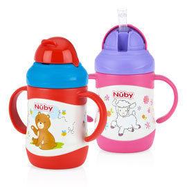 『121婦嬰用品』Nuby 不鏽鋼真空學習杯-羊(粗吸管) 220ml