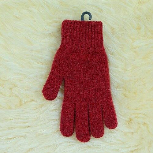 紐西蘭100%美麗諾羊毛手套*深紅色