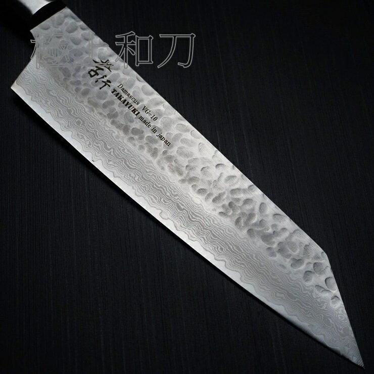 【日本進口菜刀】 堺孝行 33層槌目大馬士革 劍型牛刀 VG10  200mm 7400 3