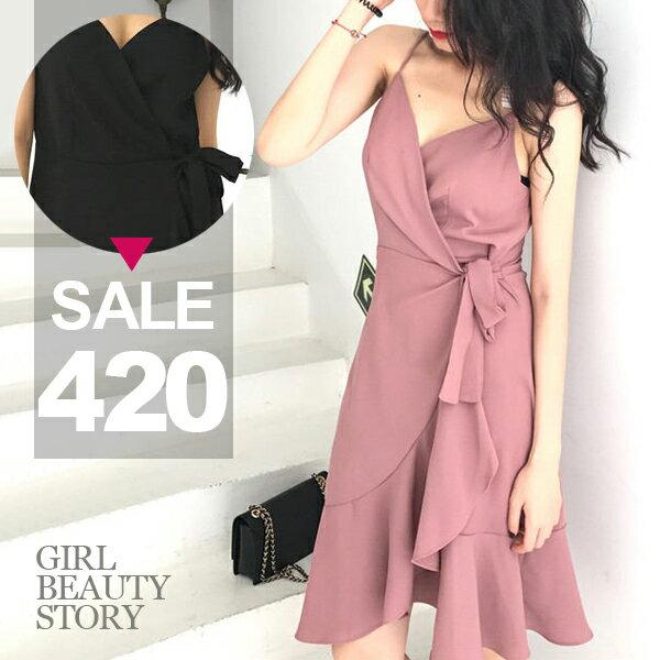 SiSi Girl:SISI【D7161】清新優雅V領細肩吊帶純色高腰繫帶綁結荷葉裙襬連身裙洋裝