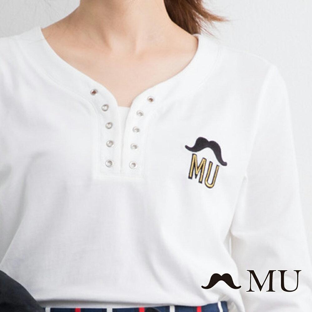 【MU】MU印花打孔上衣(2色)9321261 2