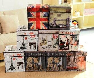 【新生活家具】 九色可選 美式 復古風 英國國旗 收納箱 可折疊 收納凳 穿鞋椅 收納椅《貝爾》 非 H&D ikea 宜家