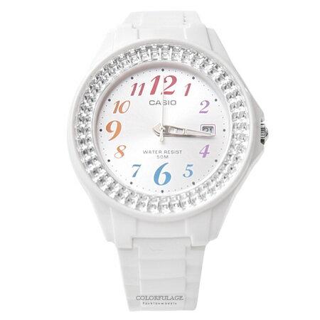 CASIO卡西歐 繽紛數字水鑽手錶 柒彩年代【NEC10】 - 限時優惠好康折扣