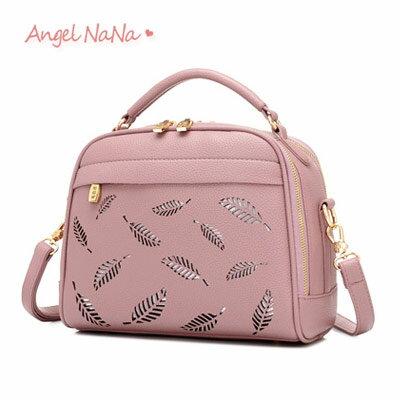 AngelNaNa:手提包-小清新羽毛樹葉簍空女斜背包AngelNaNa【BA0268】