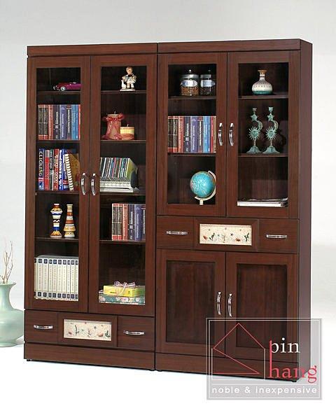 【尚品傢俱】 GF-A16 幸運草胡桃白橡3尺下抽開門書櫃
