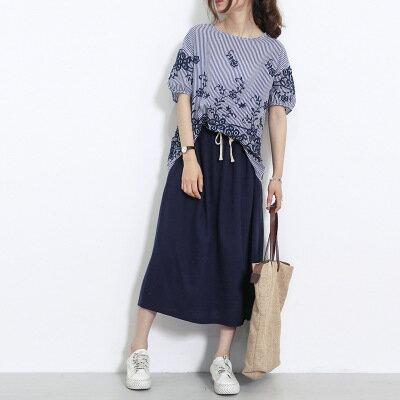 韓系日系女裝棉麻純色半身裙抽繩鬆緊腰口袋A字長裙樂天時尚館。預購。[全店免運]