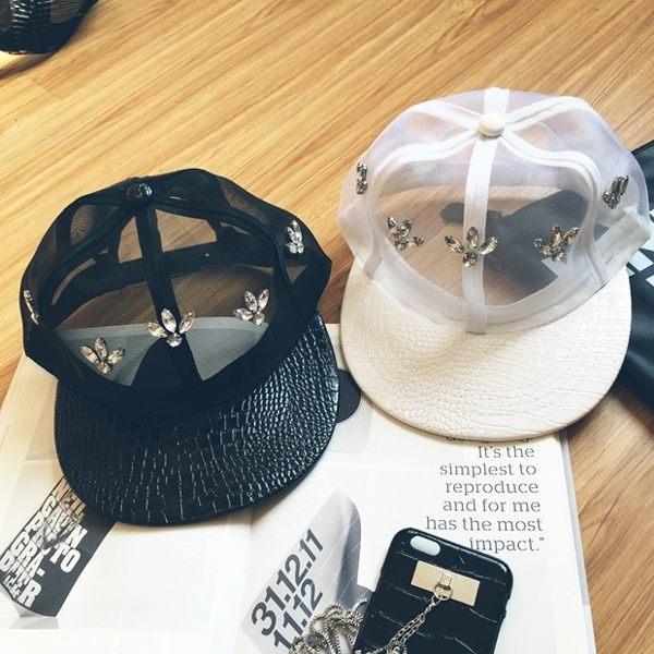 ego:原宿潮人款透氣網紗水鑽個性嘻哈帽平沿帽透氣棒球帽帽子