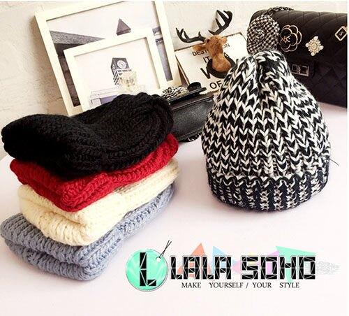 韓 針織帽 粗毛線 翻邊 尖尖帽 混色 素色 毛線帽 針織帽 帽子