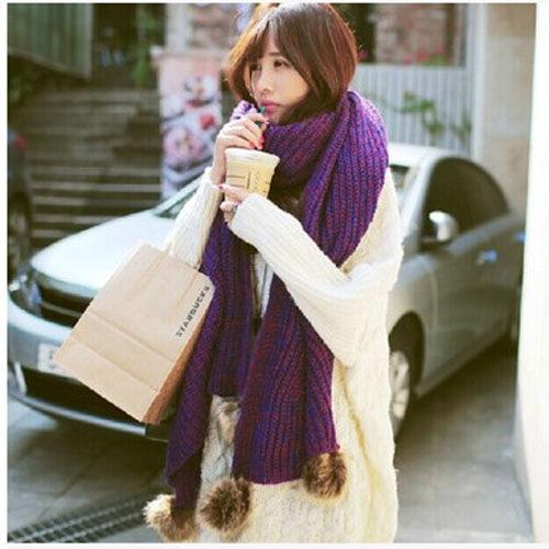 ego:加厚針織韓版保暖加大兔毛球毛線圍巾