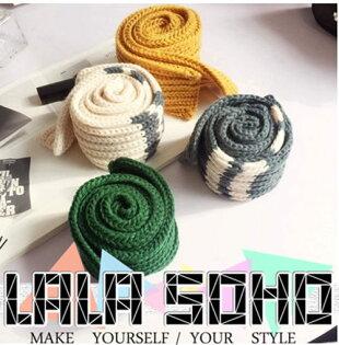 ego:秋冬季領巾毛線條紋小圍巾加厚韓版潮冬天針織保暖女圍巾