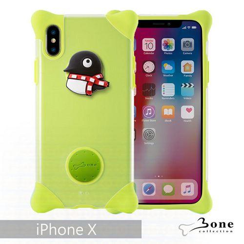 BoneiPhoneX泡泡保護套綠-企鵝手機殼