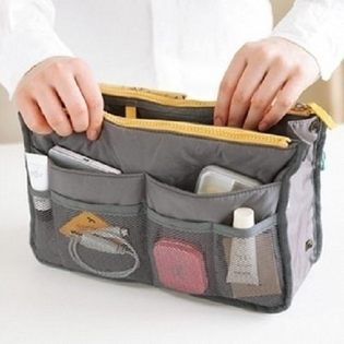 ego:雙拉鍊收納包韓版超大加厚手提式包中包袋中袋整理袋