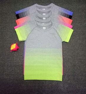 ego:漸變色上衣T恤瑜珈服運動服休閒服圓領健身上衣