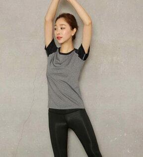 ego:彈力瑜珈服運動休閒服T恤健身上衣緊身速乾運動服