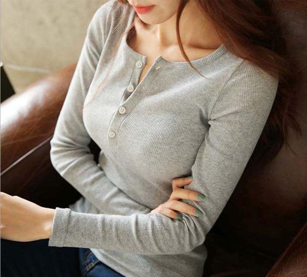 V領 純色 T恤 長袖 顯瘦 圓領 排扣 修身 上衣