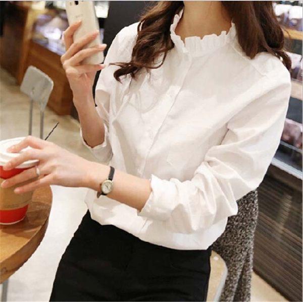 ego:復古風氣質甜美韓版百搭襯衫荷葉領純色女襯衫上衣