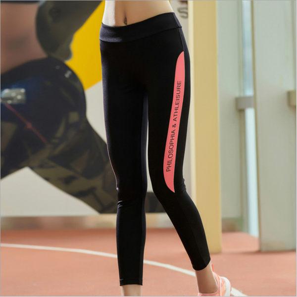 瑜珈褲 長褲 高彈力運動褲 字母印花 顯瘦曲線 健身褲 慢跑 休閒褲 運動用品 彈力長褲