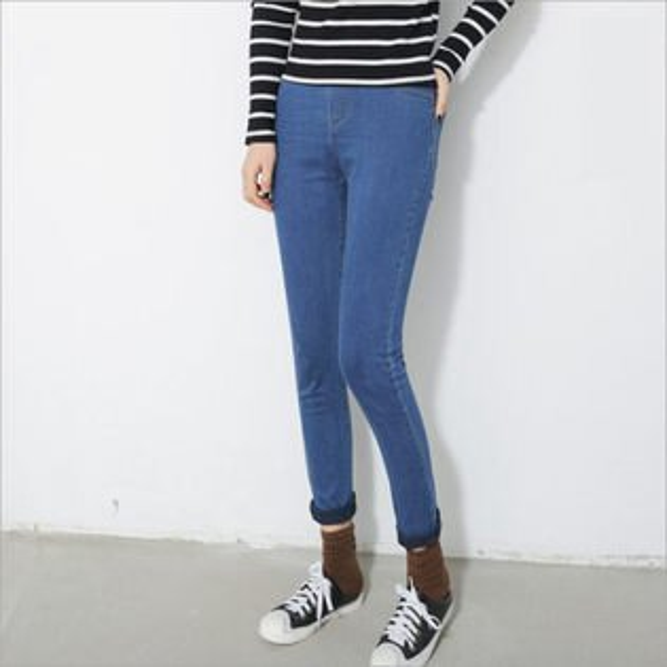 ego:韓版素色單寧牛仔褲丹寧牛仔長褲內搭褲顯瘦貼腿褲鬆緊腰小腳鉛筆褲