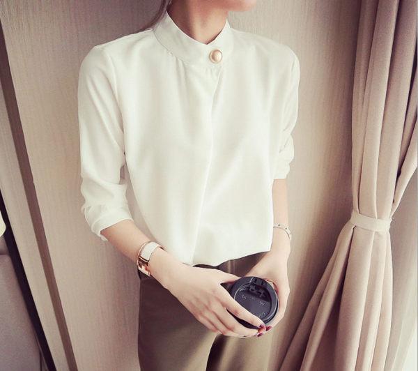 ego:春夏純色寬鬆襯衫一粒扣韓版雪紡打底衫