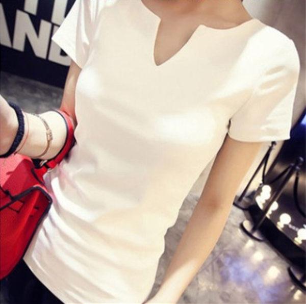 ego:短袖V領T恤韓版春夏修身緊身棉質打底衫