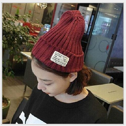 韓 簡約 毛帽 素色 基本款 尖尖帽 針織帽 字母 刺繡 拼貼 印花 毛線帽