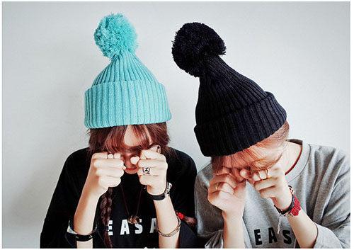 ego:韓糖果色毛帽針織帽尖尖帽可愛球球毛球毛茸毛絨球毛線帽帽子翻沿保暖