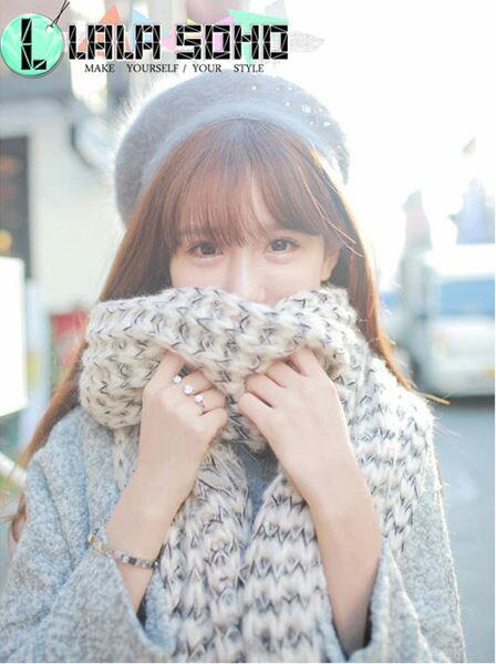 圍巾 秋冬新款 韓國 雙色 毛線圍巾 加厚加長款