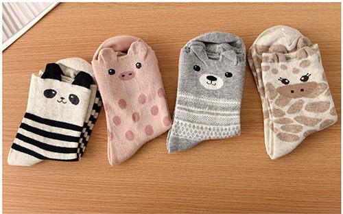 ego:韓版冬季襪子可愛卡通襪純棉襪中筒襪