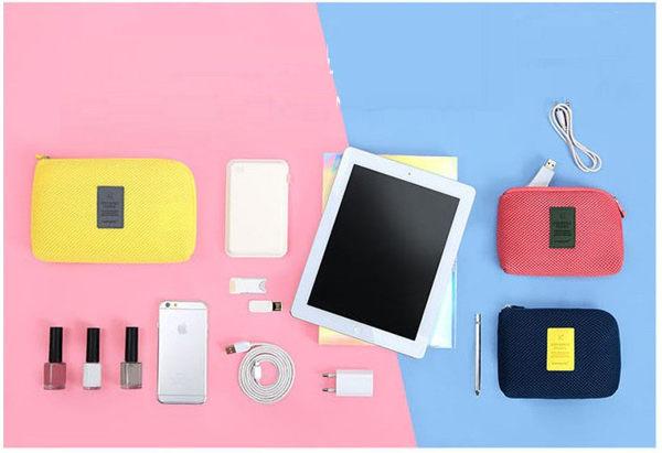ego:韓防震包旅行收納包化妝包手拿包手機包3C收納充電器數據線收納小號