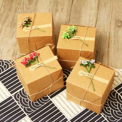 ego:創意禮物包裝牛皮紙盒禮盒包裝聖誕節交換禮物主題聖誕裝飾緞帶花套組
