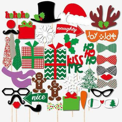 ego:聖誕節派對創意拍照道具聖誕老公公聖誕老人聖誕樹造型面具館長推薦