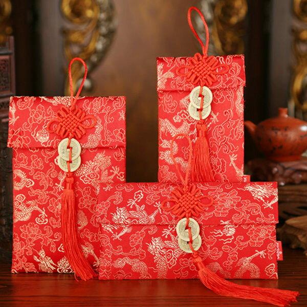 春節 新年 開運紅包袋 2017 壓歲錢 創意紅包 針織紅包袋 錦緞紅包 中國風 中國結 布紅包 錭緞 鍛面