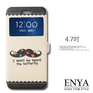 iPhone6 6S 4.7吋  黑鬍子彩繪視窗皮套 ^(郵寄^) Enya恩雅 ~  好
