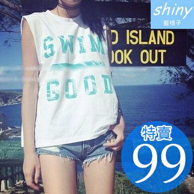 【V0893】shiny藍格子-可愛盛夏.英文字母印花圓領寬鬆背心上衣