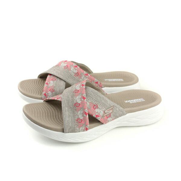 SKECHERSON-THE-GO600涼鞋拖鞋式女鞋棕色花朵15306TPEno829