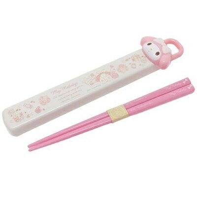 【真愛日本】16082800003抽拉筷子餐具盒-MD大頭粉   三麗鷗家族 Melody 美樂蒂   餐具組