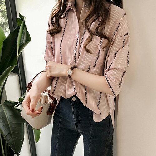 寬鬆大碼條紋襯衫(3色M~4XL)【OREAD】 0