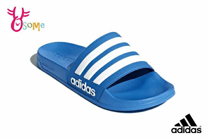 adidas 拖鞋 成人男款 防水 內裡速乾 經典三線設計 玩水戲水 運動拖鞋 R9336#藍色 奧森
