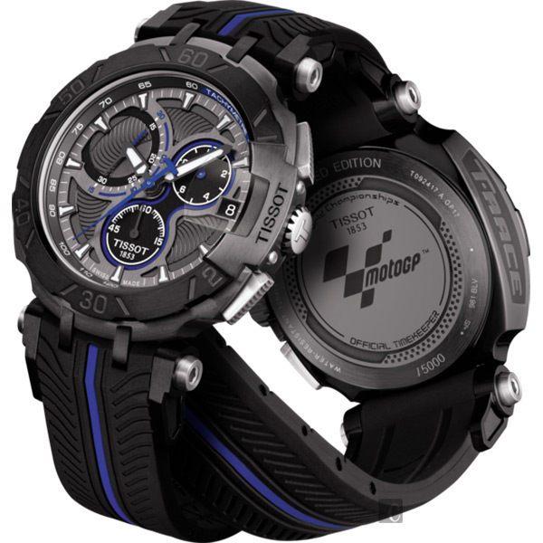 全球限量5000只 TISSOT 天梭 T-RACE MOTOGP 2017限量版賽車錶-黑x藍 / 45mm T0924173706100 2